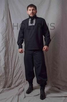 Рубаха Holyrus Православная с манжетами и вышивкой - в полный рост передом