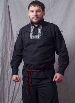 Рубаха Holyrus Православная с манжетами и вышивкой - с плетеным черно-красным поясом