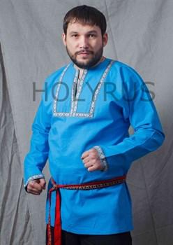 Рубаха Holyrus с декоративной нашивкой голубая - в стойке