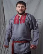 Рубаха Holyrus с декоративной нашивкой серая