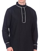 Рубаха Holyrus казачья чёрная с серебрянным кантом
