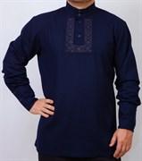 Рубаха Holyrus Православная с манжетами и вышивкой синяя